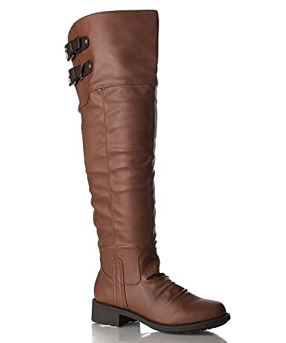 Qupid Relax-01XXX Vegan Leatherette Double Buckle Two Tone Stacked Heel Knee High Boot COGNAC TAN PU (11)