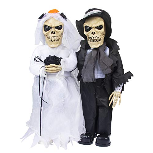 KI Store Halloween Decorations Animated Skeleton Couple Prop for Singing Bride and Groom Mantel Tabletop Office Home Porch Decor(Couple)