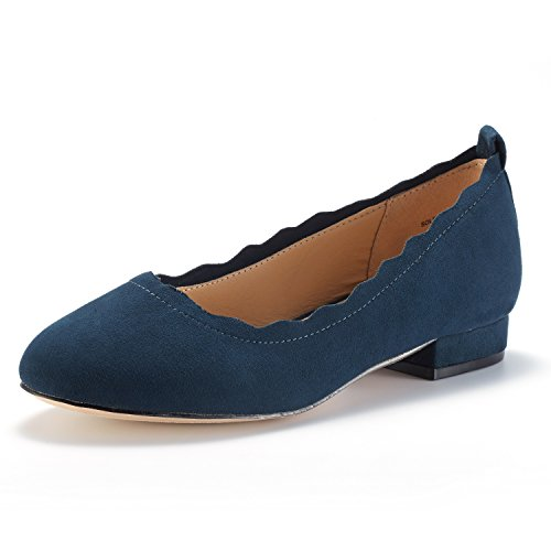 DREAM PAIRS Women's Sole_ELLE Navy Fashion Low Stacked Slip On Flats Shoes Size 6.5 M ()