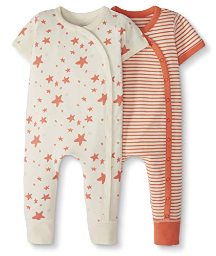 - Moon and Back by Hanna Andersson Baby 2-Pack One-Piece Organic Cotton Short Sleeve Romper, Coral, Newborn