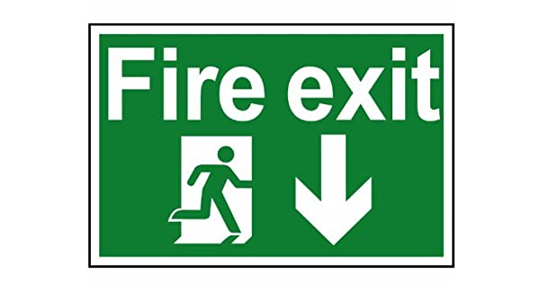 Amazon.com: Scan Fire Exit Running Man Arrow Down - Pvc ...