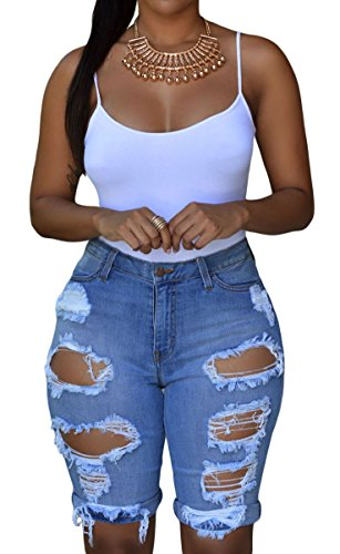 (roswear Women's Ripped Denim Mid Rise Stretchy Bermuda Shorts Jeans Blue XL)