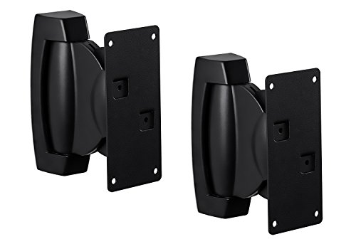 Mount-It! Heavy-Duty Speaker Wall Mount, Universal Adjustable Design For Bookshelf, Large or Small Speakers, 1 Pair, 22 Lbs Capacity, Black