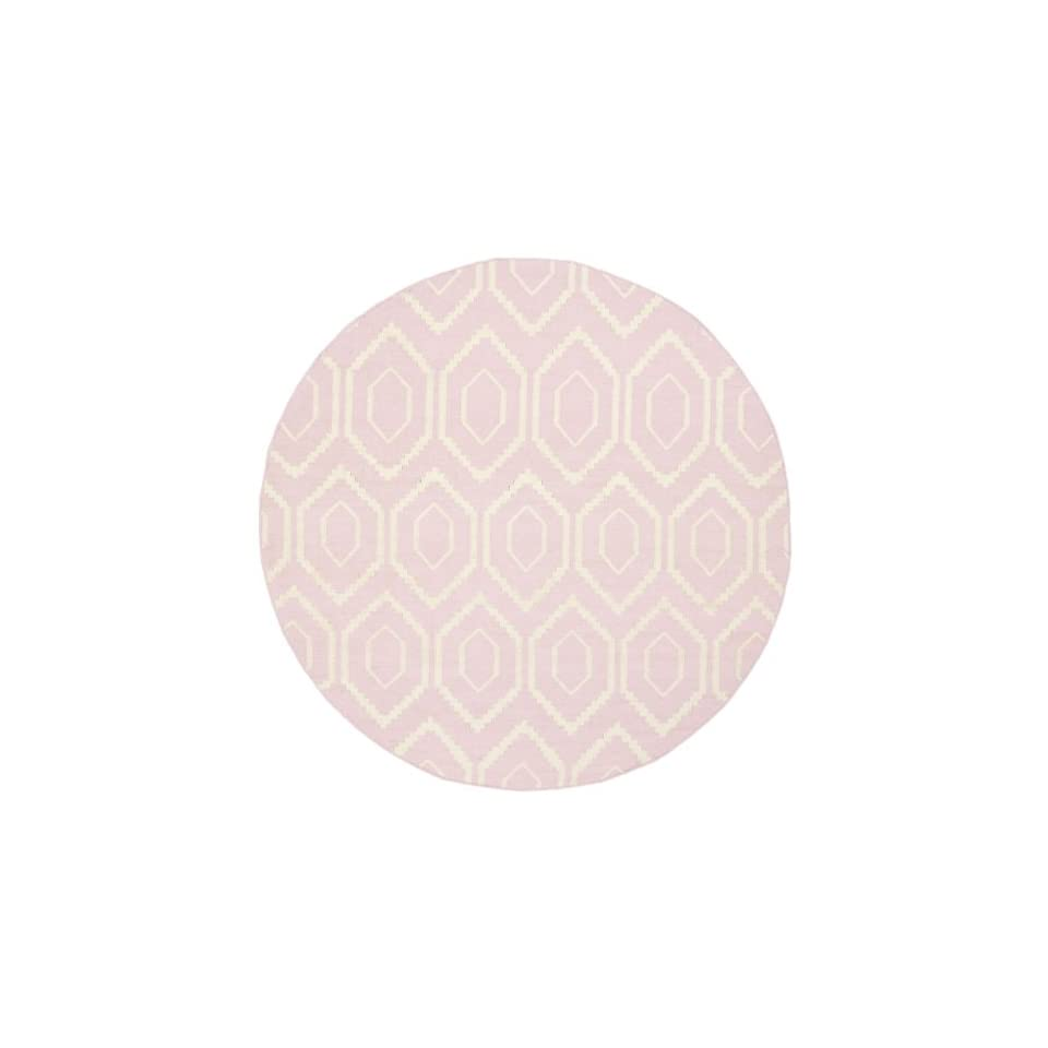 Safavieh Dhurries Collection DHU556C Hand Woven Pink and Ivory Premium Wool Round Area Rug (6 Diameter)