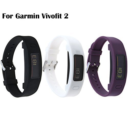 Garmin Vivofit 2 Buckle Bracelet - Adjustable Wristband and Wristwatch Style - Silicone Replacement Secure Band with Chrome Watch Clasp and Fastener Buckle For Garmin Vivofit 2 (Black&White&Purple)