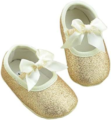 DZT1968 Baby Girl Soft Leather Bowknot Bling Bling Shoes Prewalker Socks Crib Sneakers