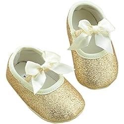 DZT1968® Baby Girl Soft Sole Bowknot Bling Bling Shoes Prewalker Socks Sneakers (0~6 Months, Gold)