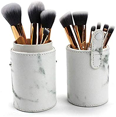 Estuche cosmético de piel con diseño de mármol, portátil, para guardar cosméticos, maquillaje, bolsos, vasos, bolsas de corte, organizador de brochas: Amazon.es: Belleza