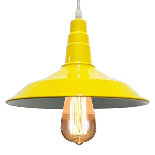 BAYCHEER HL416374 Industrial Retro Style Wrought Iron Large Pendant Light Lamp Modern Chandelier 1 Light for Barn Warehouse Restaurant, Yellow 10.23 inch