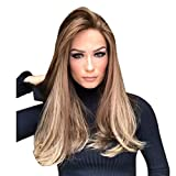 Women's Girl's Wig Human Hair, Iuhan Women Ladies Natural Mix Colors Gradient Long Curly Hair Synthetic Wig Full Wig Costume Party Club Bar Wig (Brown 1)