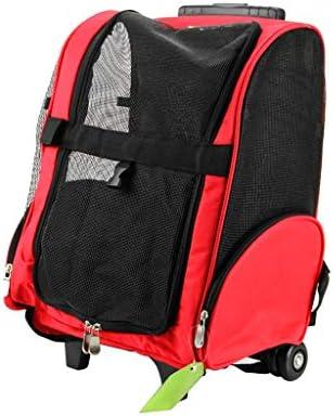 ペットキャリー 猫 犬バックパック、 小型犬や猫のための車輪付きペットキャリア、コンフォート猫犬のキャリアバックパック、換気の良い生地ペットバッグ (Color : Red L)