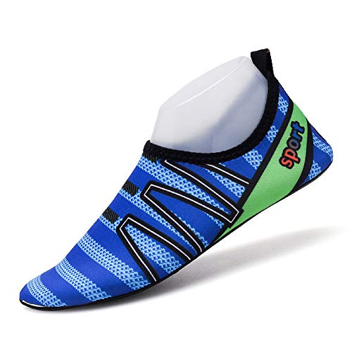 - Msanlixian Men Aqua Shoes Summer Slip On Breathable Beach Walking Shoes Quickly Dry Men Swim Water Shoes Outdoor Sneakers Fitness Shoes Blue 5.5