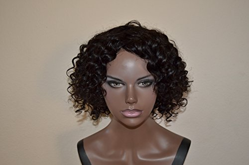 Handmade Wig - Brazilian Hair 9A Curly 100% Unprocessed Human Hair, Color Black 10-10-10 by Chezlilika