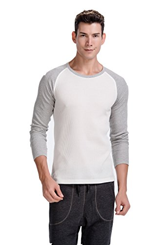 CYZ Men's Thermal Long Sleeve Crew Top-WhiteGrey-L