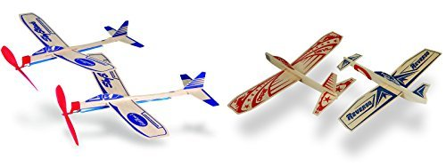 Guillow Balsa Wood Model Airplane Set - Sky Streak Twin Pack and Super Hero Twin Pack (4 Planes Total) ()