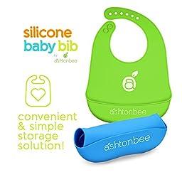 Silicone Baby Feeding Bibs with Food Catcher Pocket - Unisex Waterproof Bib