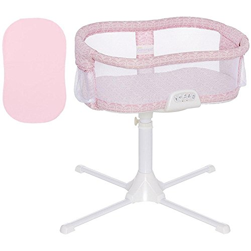 Halo - Swivel Sleeper Bassinet Premiere Series - Rose Leaf with Pink 100 Cotton Fitted Sheet by Halo