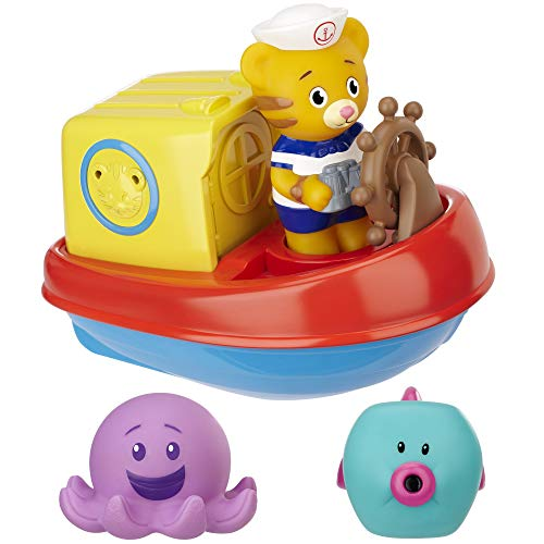 Daniel Tiger's Neighborhood Baby Bath Tub Toy Daniel's Bathtub Voyage Adventure, 6 Piece Set for Little Boys and Girls 18 Months and up