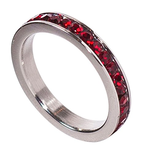 Birthstone Eternity Ring~January~Stainless Steel~Cubic Zirconia CZ Band~Garnet~Red Crystals~Stackable~Mother's Ring~Children's Ring~Women's Jewelry (08)