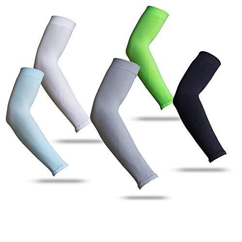 YISEVEN Sports Compression Arm Sleeves UV Sun Protection for Basketball Football Baseball Cycling - Men & Women Orange (1 Pair)