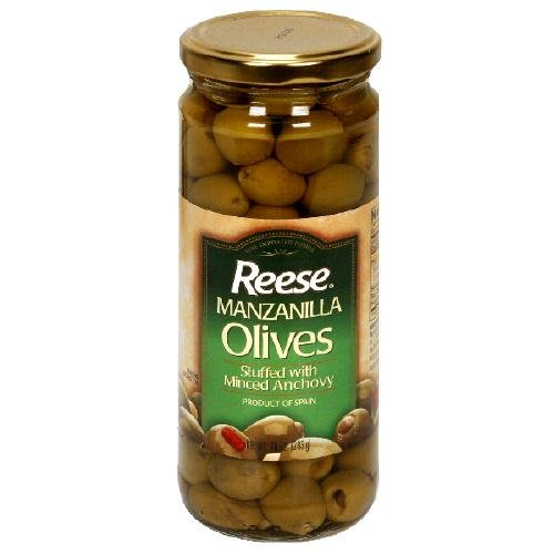 Reese Stuffed Anchovy Manzanilla Olives, 10 Ounce (Pack of 12)