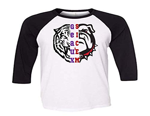 Handmade Football Shirt House Divided LSU UGA Raglan Half Bulldog Half Tiger Shirt