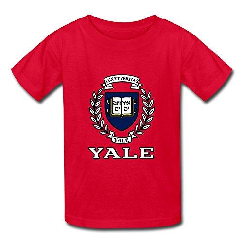 SANYOU Kid's Cool Ivy League University Yale University Logo T-shirts Size S Red