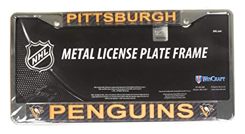 (Pittsburgh Penguins Carbon Fiber Design Laser Frame Chrome Metal License Plate Tag Cover Hockey)