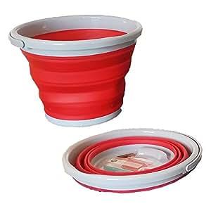Rojo plegable cubo 10L Ideal para acampadas caravanas CUBITERA festivales