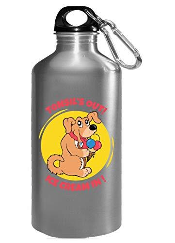 Tonsils Surgery Funny Dog eating Ice Cream - Water Bottle (Dog Cream Eating Ice)