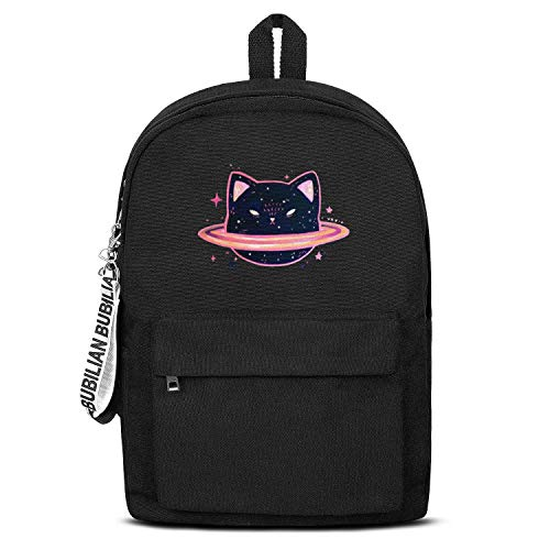 Cat Planet Saturn Unisex Canvas Backpack Custom Satchel Diaper Backpack for Girls Boys