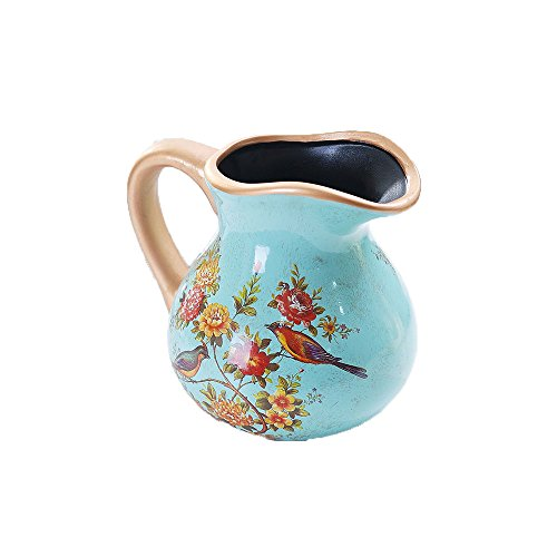 Royal Country Style Elegant Flower Birds Handcrafted Golden Line Spout with Handle Ceramic Coffee Milk Creamer Serving Sauce Porcelain Pitcher Bowl Cup Jug Vase for Kitchen Home Decor Gift 33oz ()