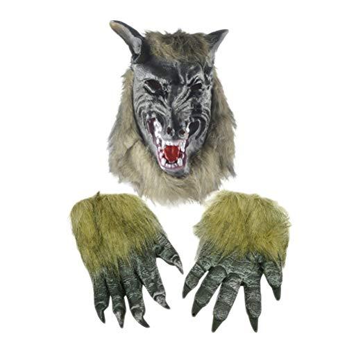 Werewolf Adult Vinyl Chin Strap Mask - Amosfun Halloween Werewolf Costume Wolf Head