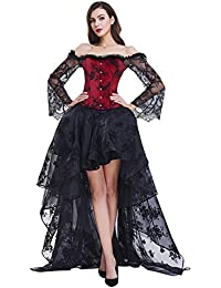 b444efd2df9 Women s Steampunk Victorian Off Shoulder Corset Top with High Low Skirt