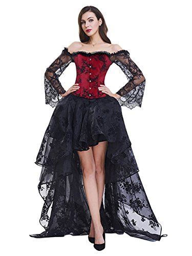 Kimring Women's Steampunk Victorian Elegant Off Shoulder Overbust Corset Dress Skirt Set with Lace Long Sleeves Black/Red XX-Large