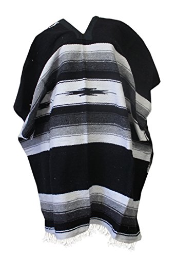 (Del Mex Mexican Diamond Woven Eastwood Poncho (Black))