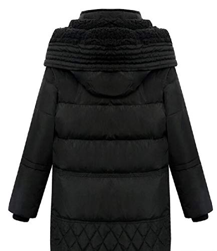 Coat Thicken Down Puffer EKU Quilted Alternative Black Padded Casual with Women's Hood nxYEq6wq8U