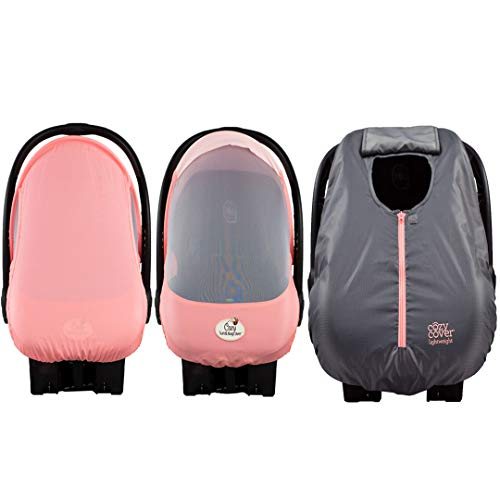Stroller Winter Cover Pink - Cozy Combo Pack (Pink Grapefruit) - 'Sun & Bug Cover' Plus Summer 'Cozy Cover' Infant Carrier Covers - Trusted by Over 5 Million Moms Worldwide - Protects Your Baby from Mosquitos, Insects, The Sun