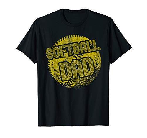 (Mens Softball Dad Coach Player Father Daddy Father's Day Gift  T-Shirt)