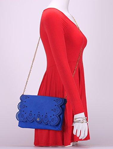 Out Clutch with Blue MoDA Sophisticated Cut Classic Attachable Strap Fashion Stenciled Perforated Chain YCUCqI