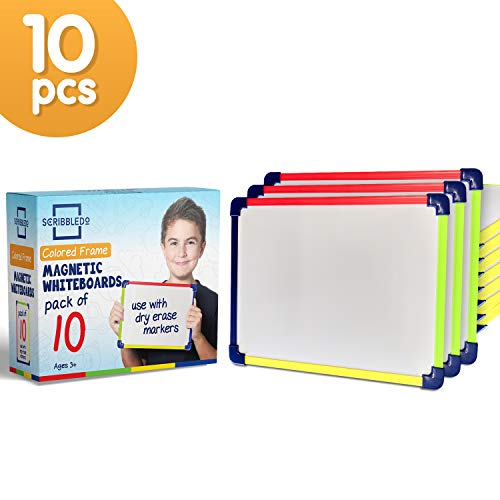 Scribbledo Colored Frame Magnetic Dry Erase White Boards Pack of 10 l 9