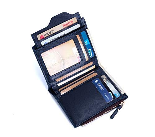 Men's Leather Bifold Wallets Pocket Coin Bag Purse Card Holder Clutch Business (black)