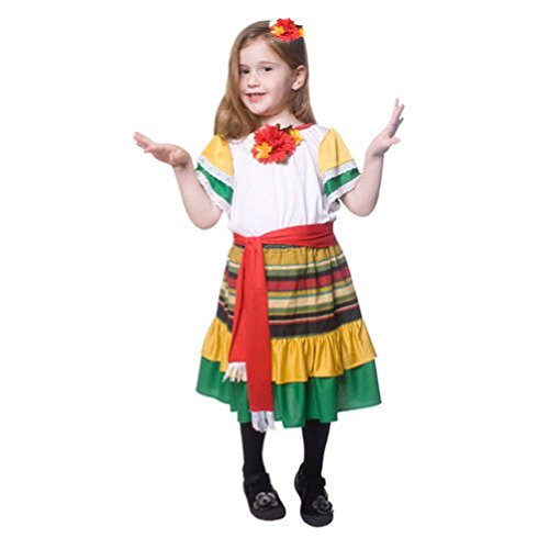 [Little Girl Mexican Dancer Costume] (Ladybug Costume Makeup)