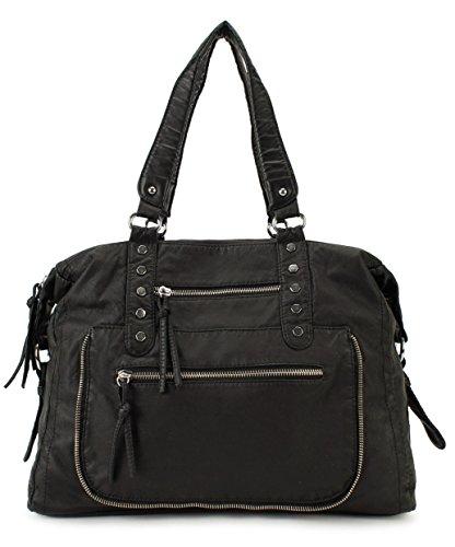 Buddha Black Handbag (Scarleton Soft Washed Multi Zip Shoulder Bag H171501 - Black)
