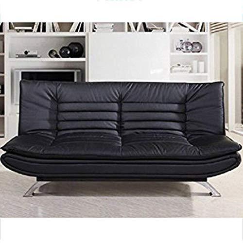 Furny Edo Double Seater Leatherette Sofa Cum Bed  Black