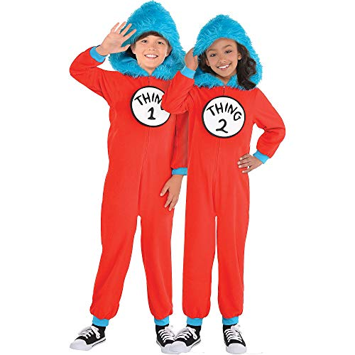 Costumes USA Dr. Seuss Thing 1 & Thing 2 One Piece Halloween Costume for Kids, Medium, with Attached Hood -