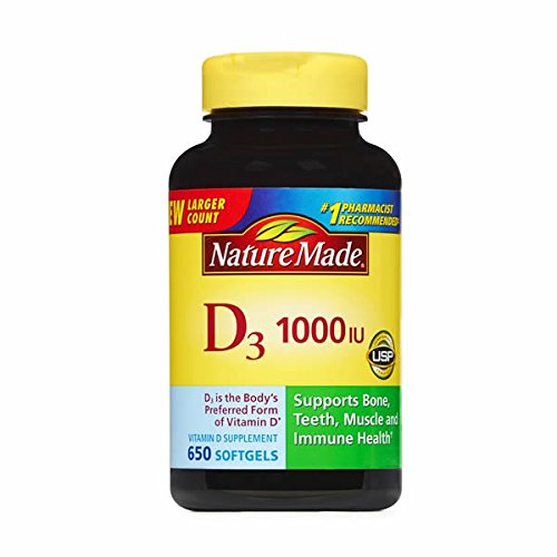 Nature Made Vitamin D3 1000IU, 650 Softgels (Natures Made Vitamin D)