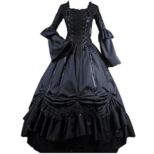 Loli Miss Womens Square Collar Lace Up Gothic Lolita Dress Ball Victorian Costume Dress M Black