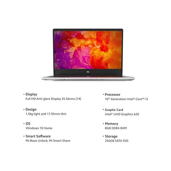 Mi Notebook 14 Intel core i3-10110U 10th Gen FHD Ultra Thin and Light Laptop (8GB/256GB SSD/Windows 10, Home/Intel UHD… 2021 June Processor : 10th Gen Intel Core i3-10110U processor, 2.10 GHz base speed, 4.10 GHz max speed, 2 Cores, 4 threads Operating system : Windows 10 Home operating system Display: 14-Inch (1920X 1080 )Full HD Anti-Glare Screen, Intel UHD Graphics