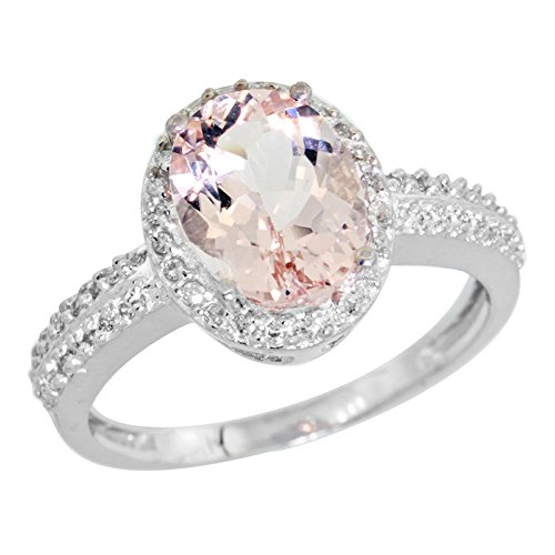 14K White Gold Diamond Natural Morganite Ring Oval 9x7mm, size 7 by Silver City Jewelry
